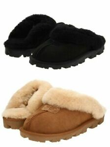 UGG Women's Shoes Coquette Soft Cozy Slippers Sandals Chestnut/Black Authentic