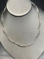 """Vintage signed Trifari Curved Link 16"""" Long Silver Necklace"""