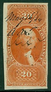 USA : 1862. Scott #R98a Used. Imperf. Extra Fine gem with great color. Cat