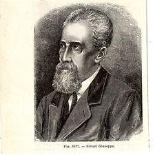 Stampa antica GIUSEPPE SIRTORI patriota garibaldino MONTICELLO 1889 Old Print