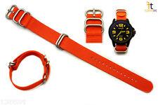 22mm Fits Luminox Nylon Woven Orange Watch Band Strap 4 Stainless Steel Rings