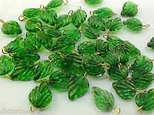 Vtg 30 Baby Green Leaf Glass Detailed Findings Beads Ready to Dangle #091711r