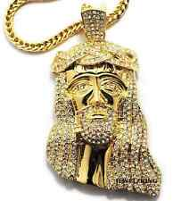 "BRAND NEW!! ICED OUT GOLD FINSH JESUS PIECE HIP HOP PENDANT & 36"" FRANCO CHAIN"