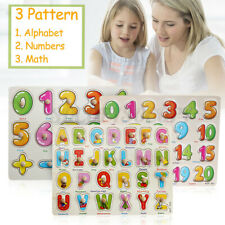 Alphabet Wooden Animal Puzzle Jigsaw Early Learning Kids Baby Educational Toy
