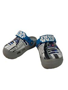 Crocs Star Wars Clogs Toddler Little Kid Size C8 Gray R2D2 Slip On Light Up Shoe
