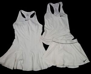 Lot 3 Nike Dri Fit White Tennis Dress Skirt Racer Back Tank Top Size M S