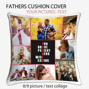 Personalised Photo Collage Father Dad Cushion Pillow Case Cover Custom Xmas Gift