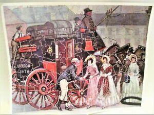 "Vintage Wooden Jigsaw Puzzle ""London to Bath"" 100+ Pcs 3 Ladies & Carriage/Coach"