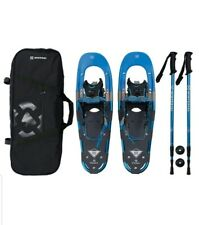 New Winterial Back Trail 25 Inch Hybrid Blue Snowshoes W/ Poles Carrying Bag NIB