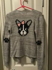NWOT Justice Cardigan Sweater Dog Terrier Gray Sequin Top Size 14 Paw Wrap Elbow
