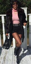 Excellent Black  3/4 Length Mink Fur Coat Jacket Bolero stroller  S-M 2-8/10