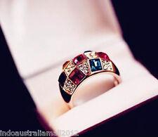 Luxury Women Colourful Rhinestone Crystal Finger Dazzling Ring 18mm dia