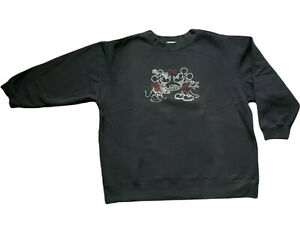 Mickey & Minnie Mouse Bling Disney Store Sweatshirt Long Sleeve Size XL Black
