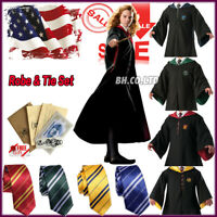 US Harry Potter Costume Hogwarts Adult Child Cosplay Robe Halloween Party Prom