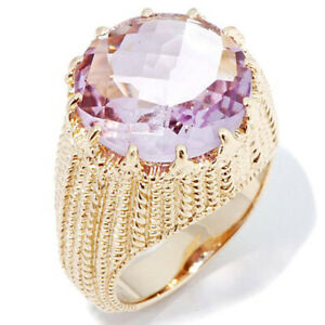 HSN Victoria Wieck 5.1ct Pink Amethyst Rope-Texture Vermeil Ring Size 6
