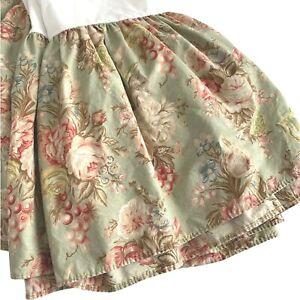 Ralph Lauren Charlotte Queen Dust Ruffle Bedskirt Green Cottage Roses Floral