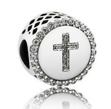 2017 Winter Authentic Pandora Bead Faith Cross ENG792016CZ  Charm