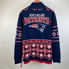 NFL Team Apparel New England Patriots Full Zip Cardigan Sweater Mens Size L NWT