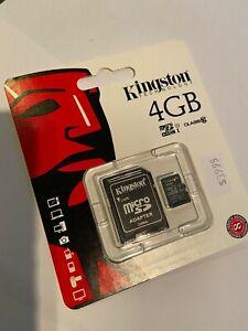 Kingston 4GB micro SDHC Flash Memory Card SDC10/4GB Class 10 Brand New & Sealed