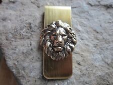BRONZE LION GOLD PLATED BRASS MONEY CLIP - FATHER'S DAY - AFRICA - LION'S HEAD