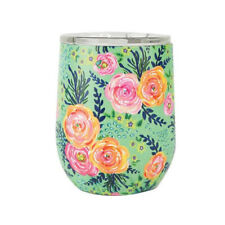 Mary Square Double Wall Insulated Stemless Wine Glass with Lid Madison Floral
