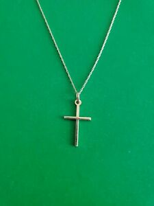 14K Yellow Gold Small Cross Necklace Germany Not Scrap