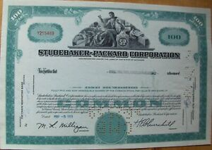 Stock certificate Studebaker-Packard Corporation Payee Merrill Lynch 1959