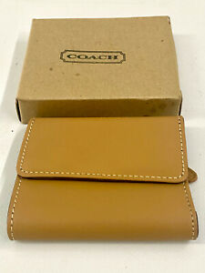 Coach Tan & Dark Brown Leather Tri Fold Wallet New Old In Box
