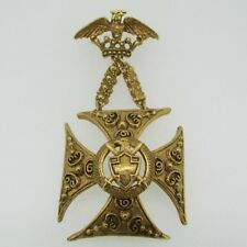 Vintage Gold Tone Florenza Eagle Maltese Cross Heraldic Brooch Pin