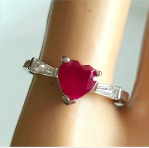 Birthstone Ring July Red Silver size 4,5,8 Heart Valentines Cocktail Cubic Z
