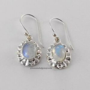 925 Solid Sterling Silver Handmade Natural Rainbow Moonstone Pear Women Earring