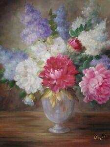 Tableau Ancien Huile Sur Toile Bien Encadré Bouquet De Fleurs