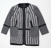 Marks & Spencer Womens Size 16 Cotton Houndstooth Black Overcoat