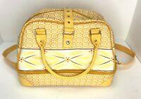 Temptations Bowler Retro Yellow Geometric Double Tote Casserole Insulated Bag