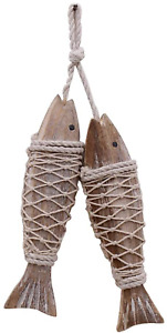 Antique Wood Fish Decor Ornament Wall Hanging Wooden Fish Decorations for Home N