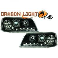 LHD Projector Headlights Pair LED Dragon Clear Black For VW T5 Transporter 03-09