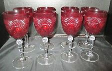 "Cristal d'Arques Set of 8 Antique Ruby Red 8"" Water Goblets"