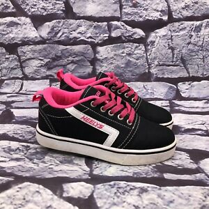 Heelys Gr8 Pro Girls Black Pink Canvas Lace Up Skate Shoes Youth Size 2