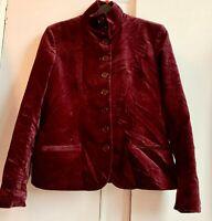 Beautiful *RALPH LAUREN* Burgundy Cotton Crushed Velvet Funnel Neck Jacket 8