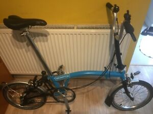 Brompton Lagoon Blue and Black M3L 2015, great condition. Global shipping.