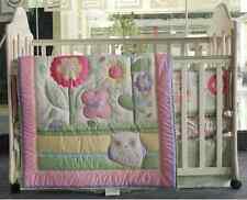 6 Piece Baby Girl Bedding Set Flowers Owl Nursery Quilt Bumper Sheet Crib Skirt