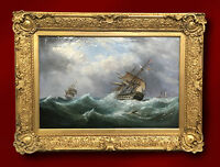 EBENEZER COLLS ORIGINAL OIL ON CANVAS PAINTING SEASCAPE SHIP 19TH CENTURY