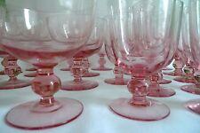 Vintage Rose Pink Drink Glasses & dessert plates 32 Pieces Rare Art Deco 1920's