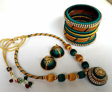 Bollywood fashion jewellery silky thready necklace and jhumki and Bangles 2-8