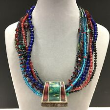 FUNKY & ChUnKy CHICO'S Multi Color Blue & Red Glass Beaded Enamel Necklace BB58i