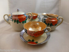 VINTAGE JAPAN BLUE & PEACH LUSTERWARE LUSTREWARE CREAMER SUGAR BOWL CUPS SAUCERS