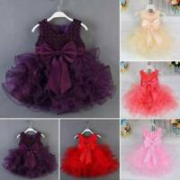 0-18M Newborn Baby Flower Pageant Princess Dress Girl Wedding Party Tutu Dress
