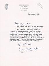 UK Louis Mountbatten 1st Earl Mountbatten of Burma 1900-1979 autograph letter