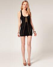 Sass & Bide The Darkside gold studded laser cut bodycon dress EU 36 US 9 UK 6