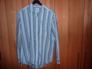 Lacoste Herrenhemd, Langarm, Größe 40, grau/blau längstgestreift